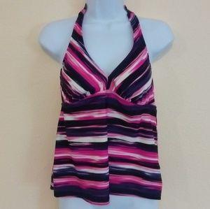 Purple & Pink Tankini Halter Swim Top Size Large